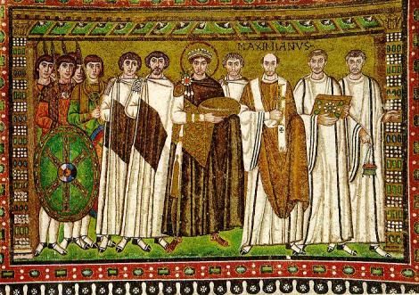 Justinian, mosaic from Ravenna, Italy.